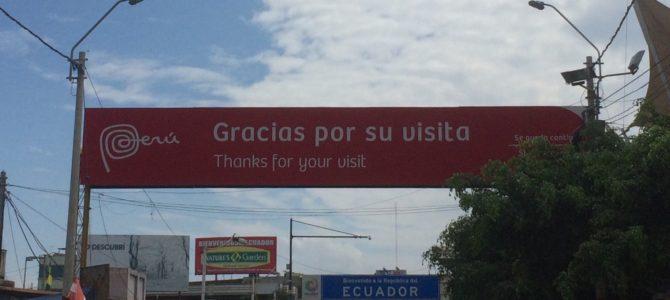 Passage de la frontière Pérou – Equateur au niveau d'Aguas verdes – Huaquillas
